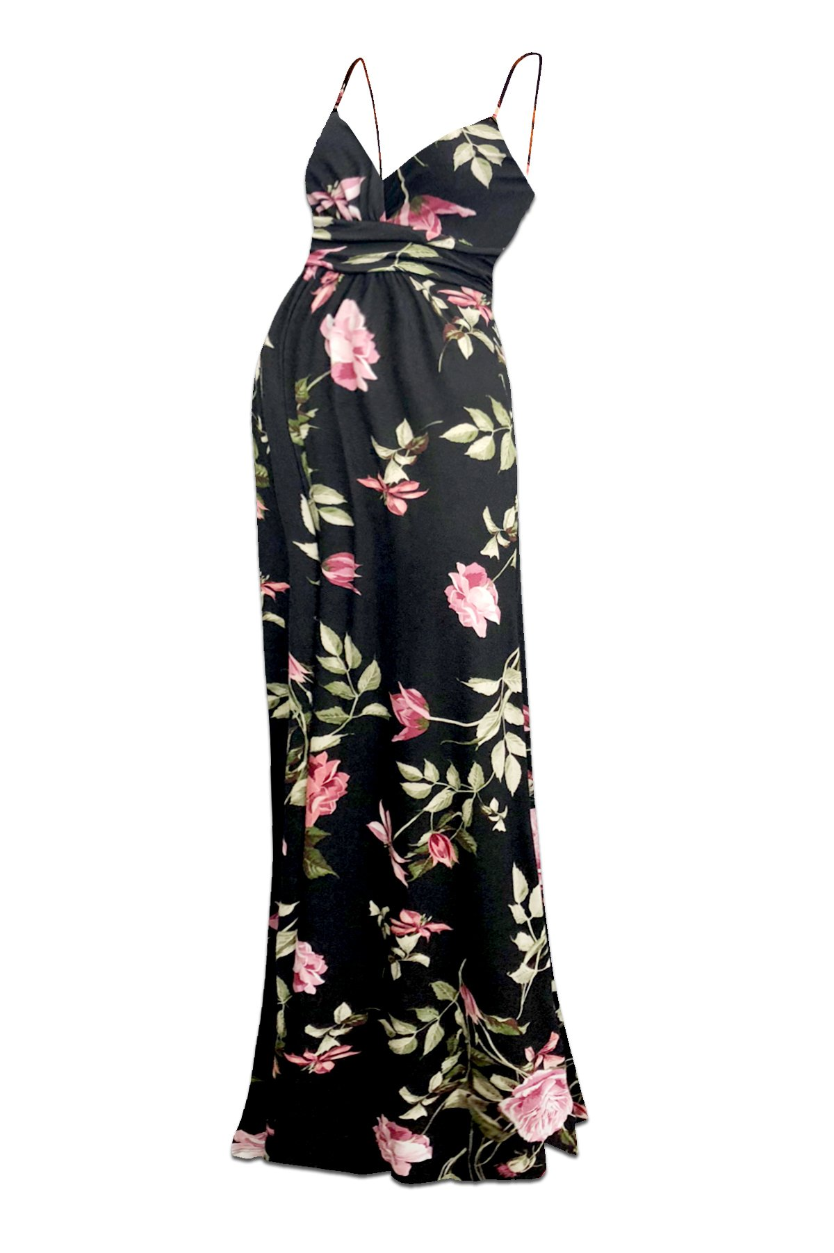 Beachcoco Women's Maternity Sweetheart Party Maxi Dress (L, Multi 12 Black/Rose)