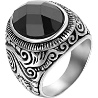 JewelryWe Gift for Him Mens Stainless Steel Ring, Classic Vintage Gothic Artificial Stone Rings