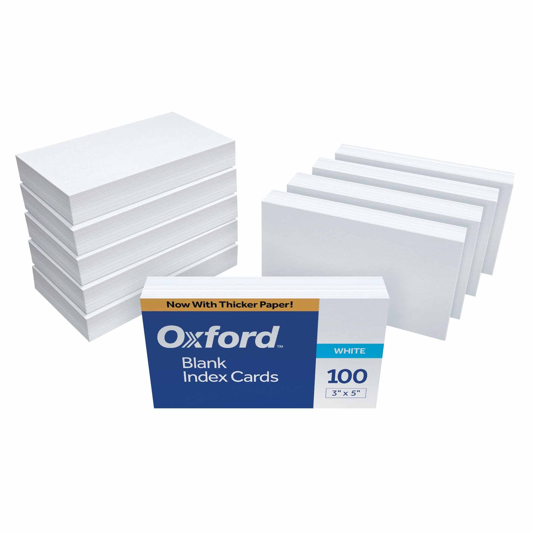 Oxford Blank Index Cards, 3'' x 5'', White, 1,000 Cards (10 Packs of 100) (30) by Oxford
