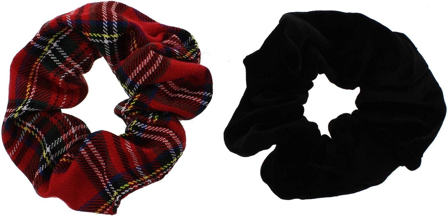 Velvet Leopard Print /& Plain Velvet Zac/'s Alter Ego® Set of 2 Hair Scrunchies