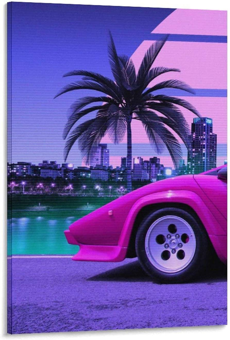 Multiple Synthwave Countach Retrowave Part 1 Canvas Art Poster and Wall Art Picture Print Modern Family Bedroom Decor Posters 12x18inch(30x45cm)