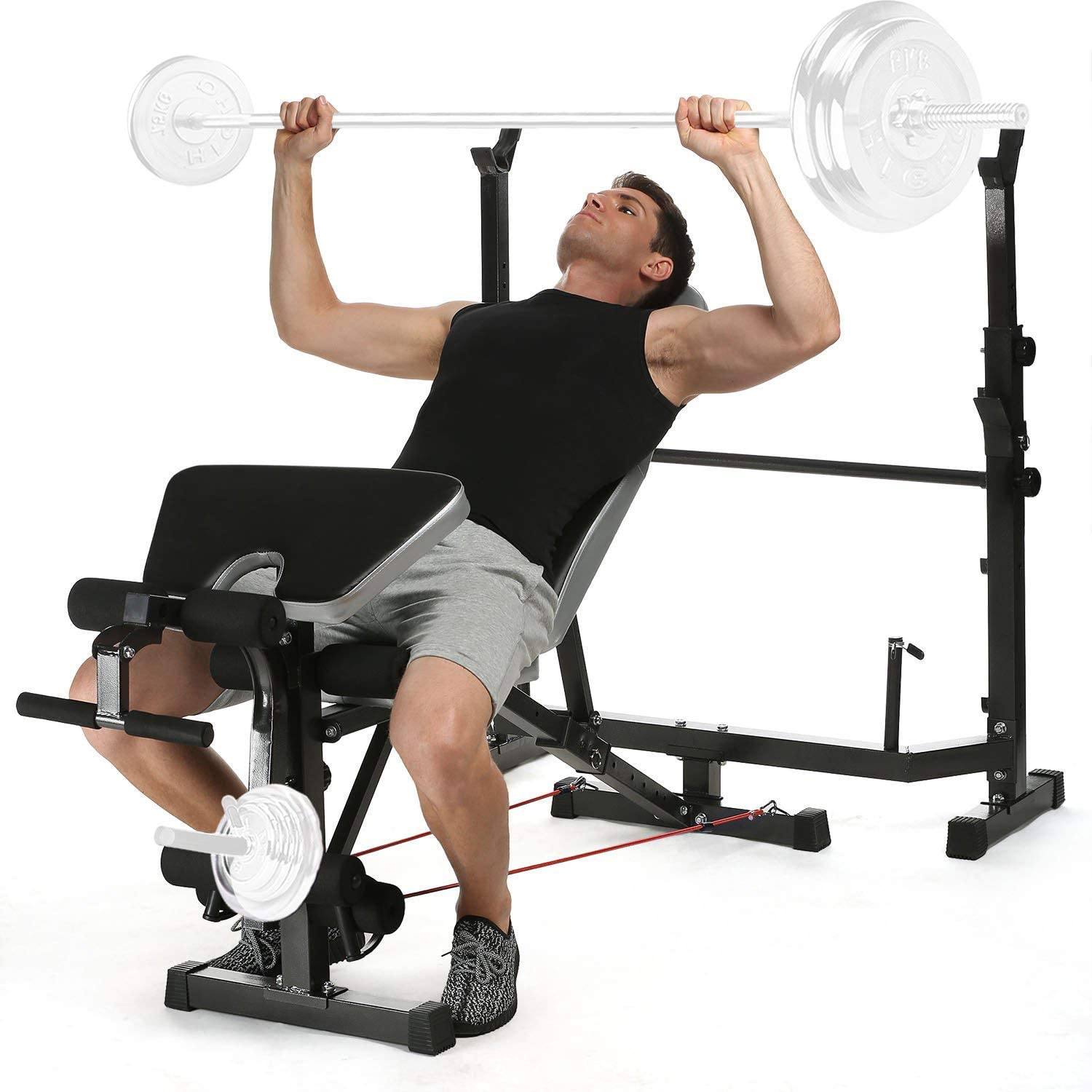 Adjustable Olympic Workout Weight Lifting Bench w// Rack Incline Decline Flat Gym
