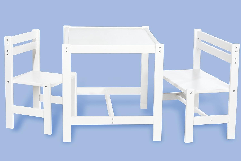 kindersitzgruppe timo teilmassiv wei lackiert 3 teilig mit 1 stuhl 1 bank 1 tisch g nstig. Black Bedroom Furniture Sets. Home Design Ideas