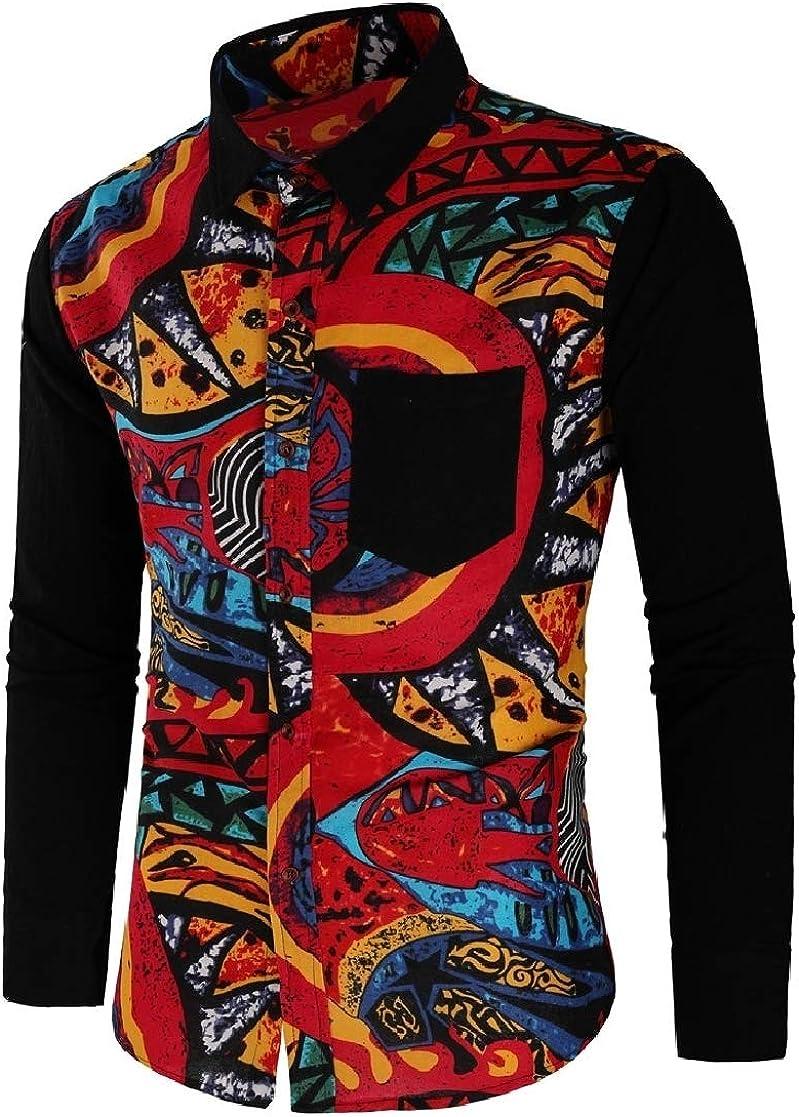 YUNY Men Oversize Contrast Color Digital Printed Tshirt Top Shirt Black L
