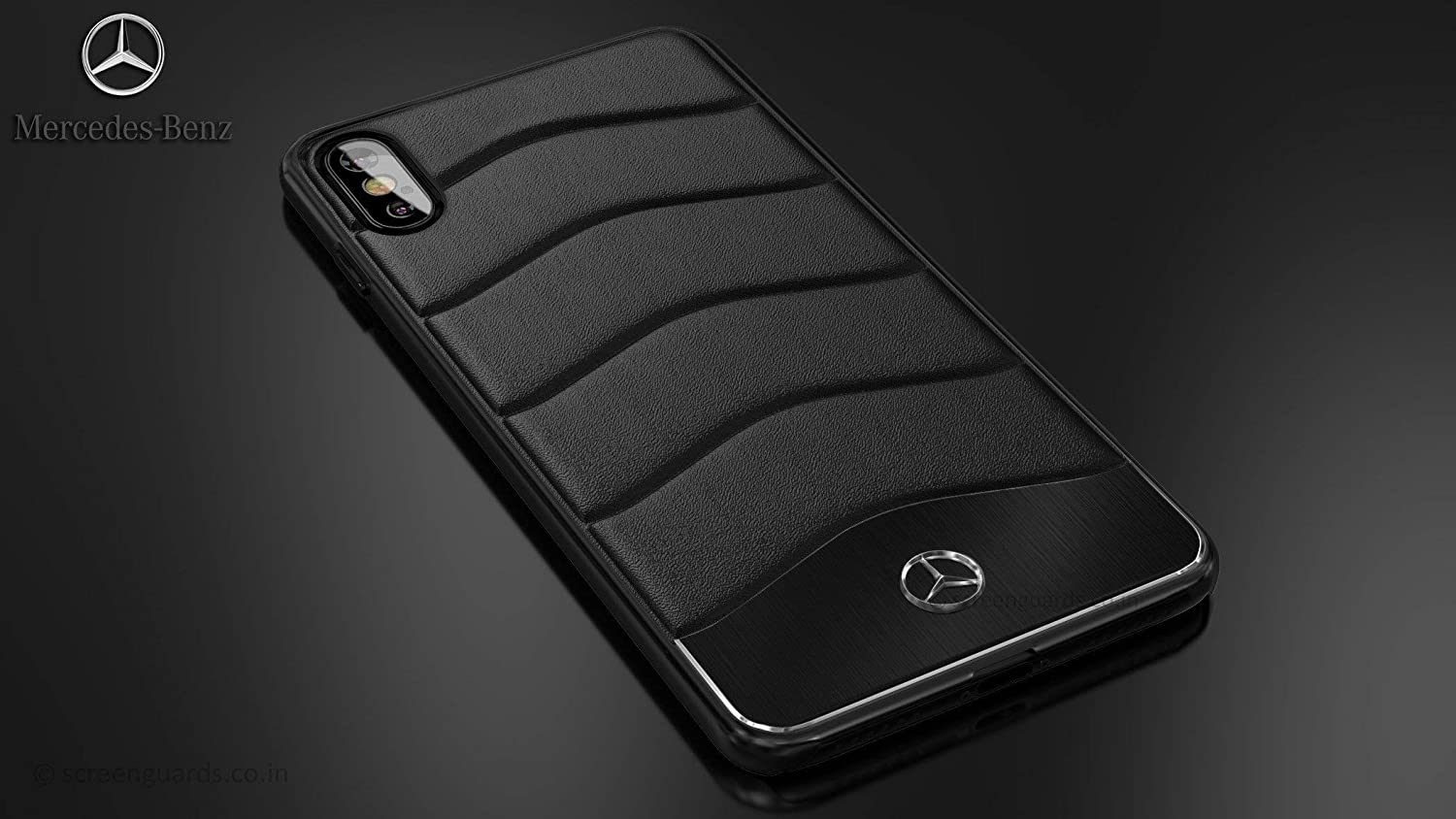 outlet store sale d11bb d6464 Mercedes Benz ® Apple iPhone Xs Concept S Coupe Series Electroplated Metal  + Leather Hard Case Back Cover for Apple iPhone Xs (Black)