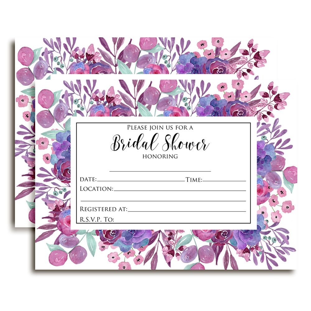 Purple Watercolor Floral Bridal Shower Invitations 20 5x7 Fill in Cards with Twenty White Envelopes by AmandaCreation