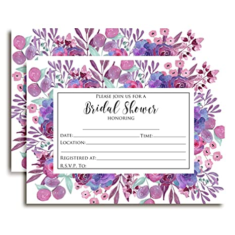 922750b43681 Image Unavailable. Image not available for. Color  Purple Watercolor Floral  Bridal Shower Invitations ...