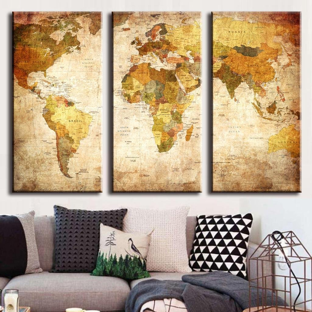 Amazon.com: (Frameless) Canvas Prints Map Art, NLEADER Retro Style ...