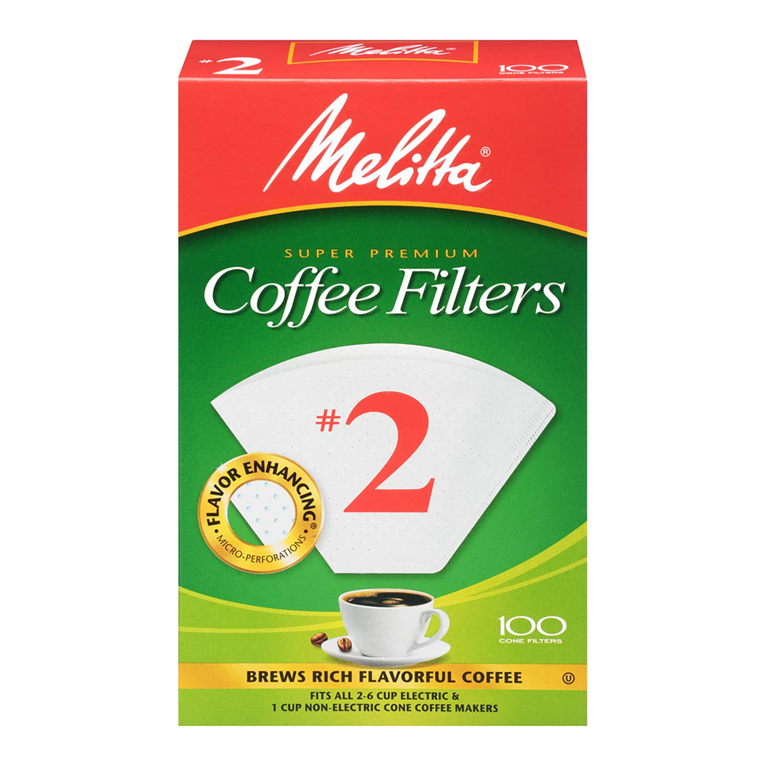 Melitta Cone Coffee Filters, White No. 2, 100 Count (Pack of 12) by Melitta