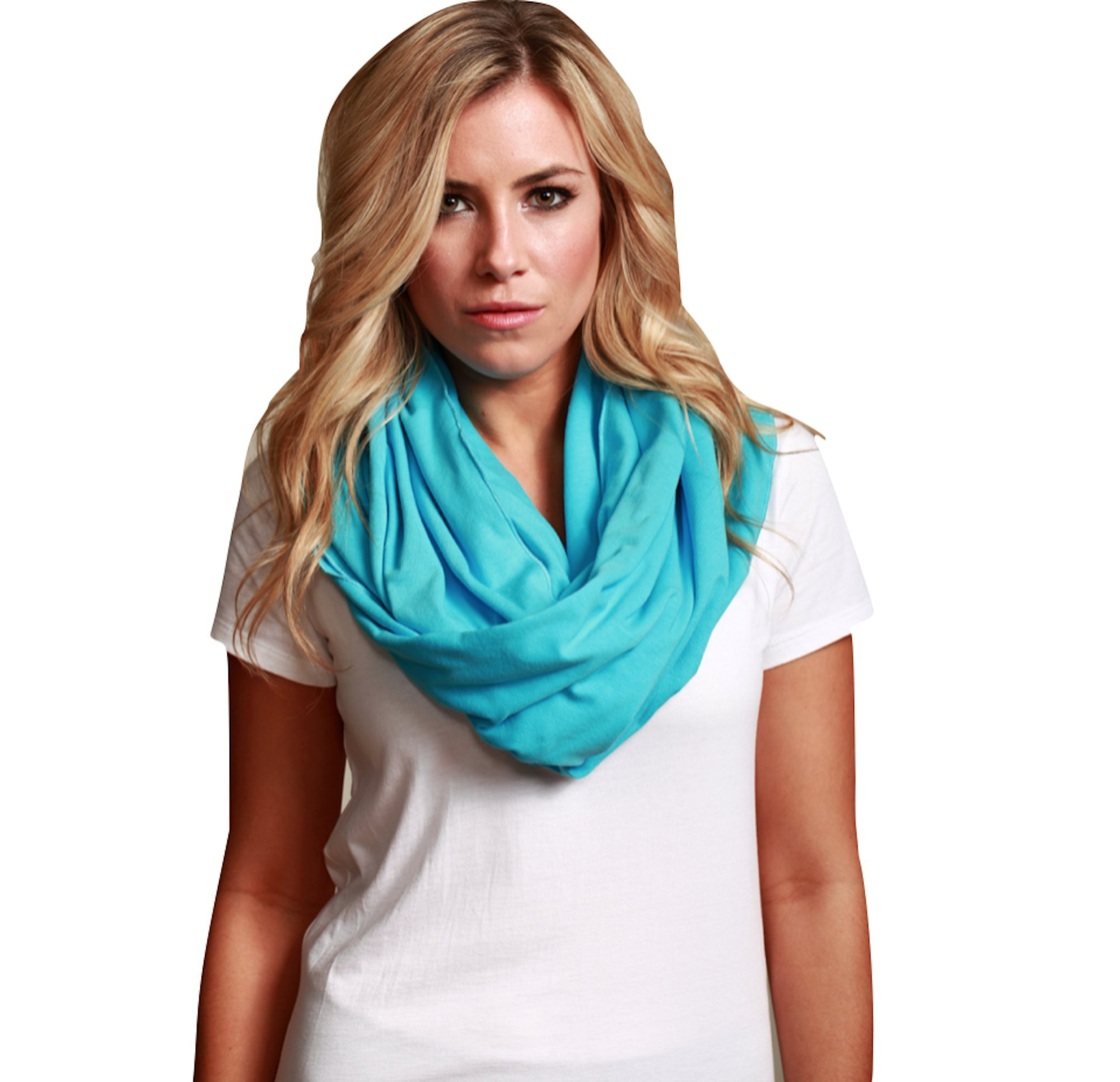 Sleeper Scarf 2-in-1 Travel Scarf and Inflatable Neck Pillow (Turquoise, Traditional Inflate)