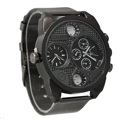 Foxnovo Oulm 9316 Cool Mens große Runde Zifferblatt Dualzeit Anzeige rostfrei Stahl Band Quarz Armbanduhr (schwarz)