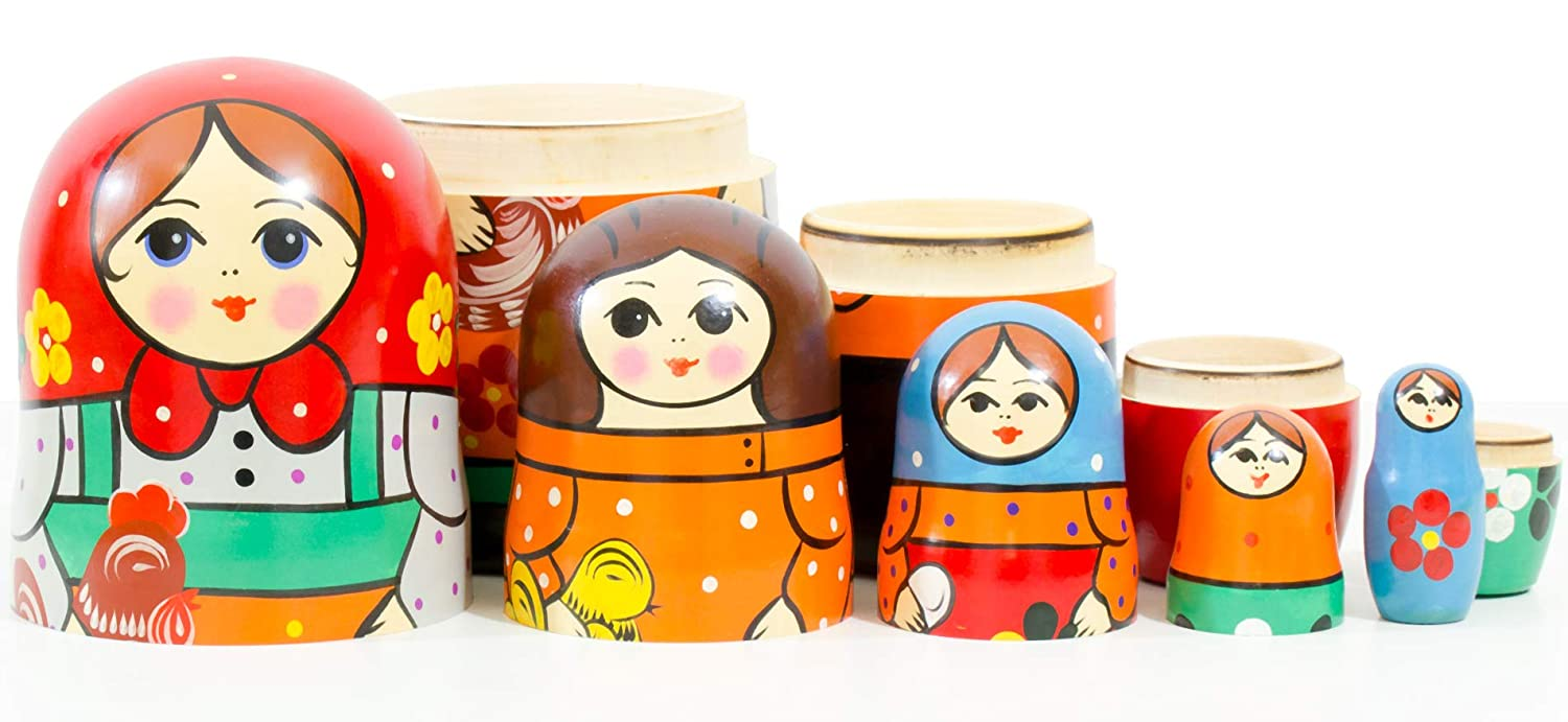 Wooden Decoration Gift Doll 6,75`` 5 Dolls in 1 Traditional Matryoshka Babushka Hand Painted in Russia craftsfromrussia Russian Nesting Doll -Russian Classical 6 Color|Size Variations , Design B