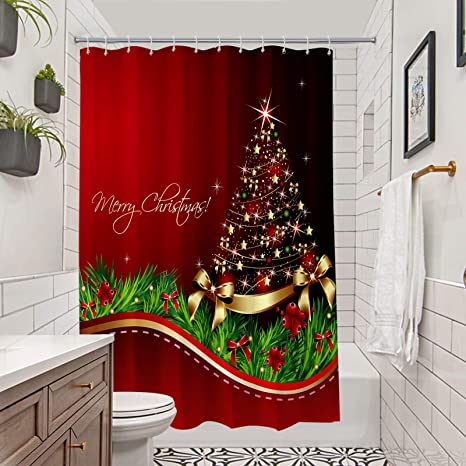Amazon Com Broshan Christmas Tree Shower Curtain Set Xmas Tree With Ornaments Print Bath Curtain For New Year Red Christmas Bathroom Set With Shower Curtain Waterproof Machine Washable 72 X 72 Inch Kitchen