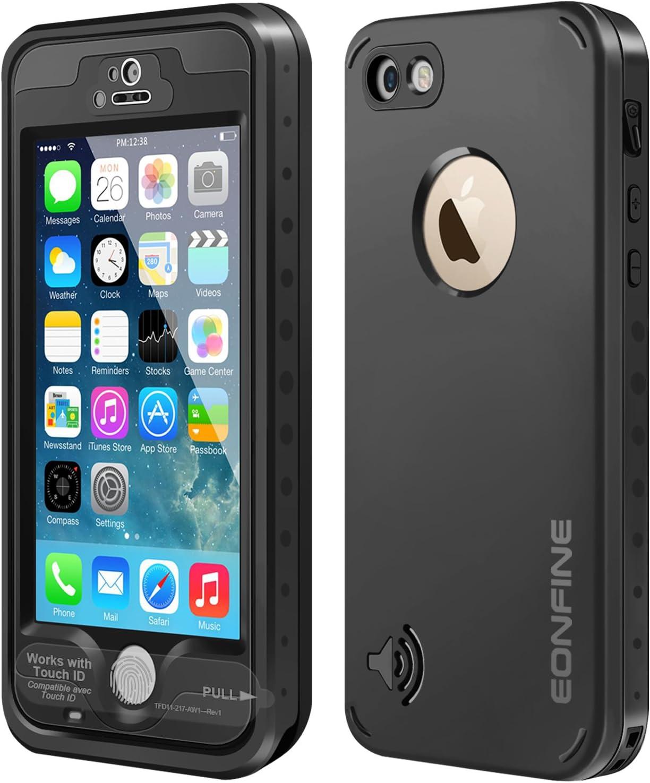 iPhone 5 5s caja estanca, Eonfine impermeables subacuáticos 6.6 pies Snowproof hermético al polvo a prueba de golpes Caso IP68 Certificado Compatible con reconocimiento de la huella táctil Identificación para el iPhone