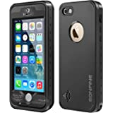 iPhone 5 5s Waterproof Case,Eonfine iPhone 5s Protective Case Dirt Snow Shock Proof Case IP68 With Touch ID Built-in Screen Protector for iPhone 5 5s Black