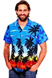 V.H.O Funky Hawaiian Shirt Men Shortsleeve Frontpocket Hawaiian-Print Beach Party Flowers