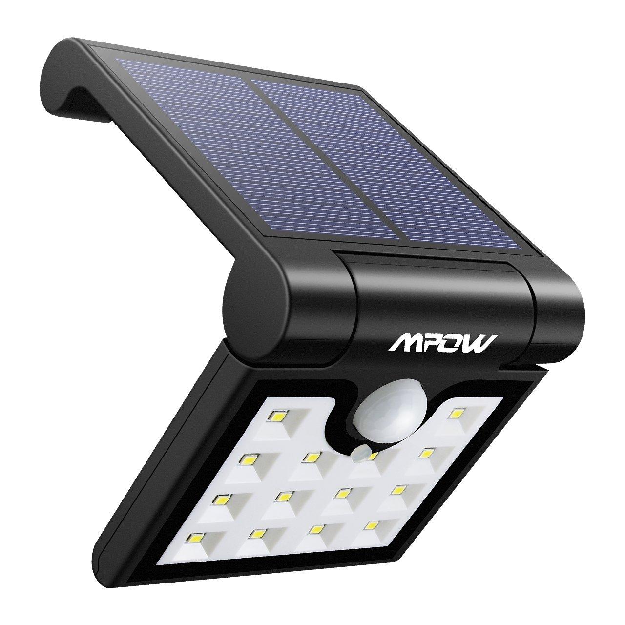 【Conception Pliable】Mpow 14 LED Lampe Solaire Extérieur Portable Etanche avec Détecteur de Mouvement LED Solaire Extérieur pour Jardin, Patio, Escalier, Allée, Garage et Camping LP-FR-BA921DCPM