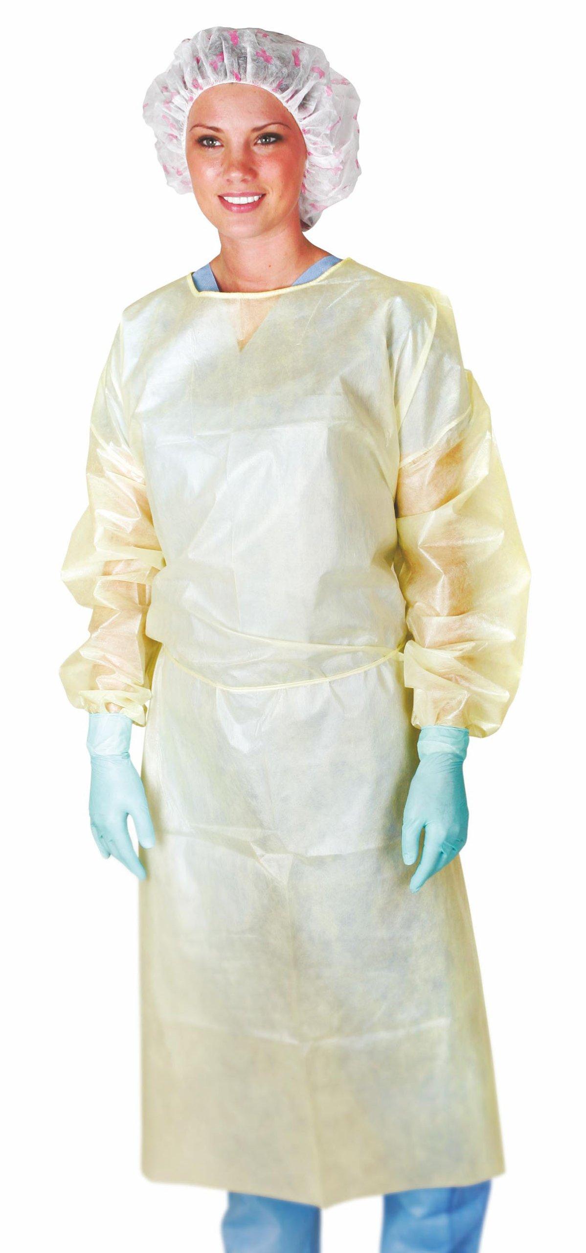 Medline CRI4011CF Medium-Weight Coated Polypropylene Isolation Gowns, X-Large, Yellow (Pack of 50)