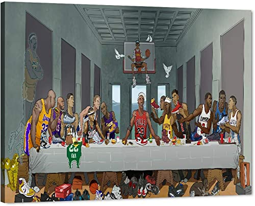 NBA Superstar Canvas Wall Art Last Supper Basketball Player Pictures Prints on Canvas Modern Posters Painting Artwork Home Decorations Memorabilia Fan Gift