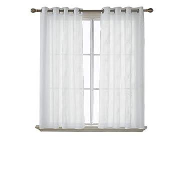 Deconovo Paire Rideau Blanc Chambre Transparent Oeillets Rideaux ...