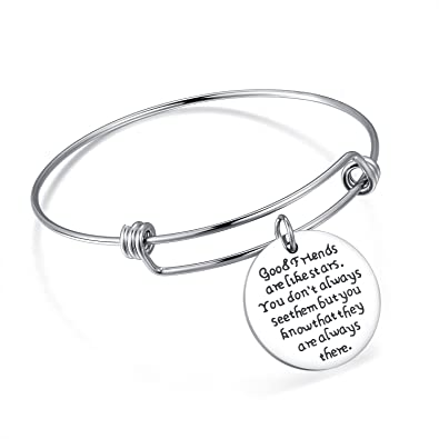 8d47227323ac Amazon.com  Jureeone Inspirational Stainless Steel Bracelet Expandable Wire  Bangle Tag Charm Gifts for Women Girls Men Boys - good friends are like  stars ...