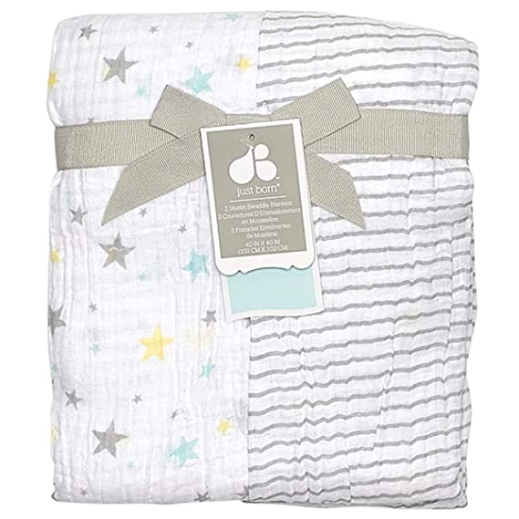 "BabyPrem Baby Bedding 27 X 16 /"" 2 Fitted Bassinet Crib Sheets Shawl Blanket Set"