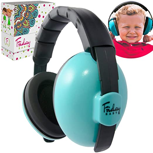 Fridaybaby Baby Ear Protection (0-2+ Years) - Comfortable and Adjustable Baby Ear Muffs Noise Protection for Infants & Newborns | Baby Headphones Noise Reduction for Concerts Fireworks Travels (Blue)