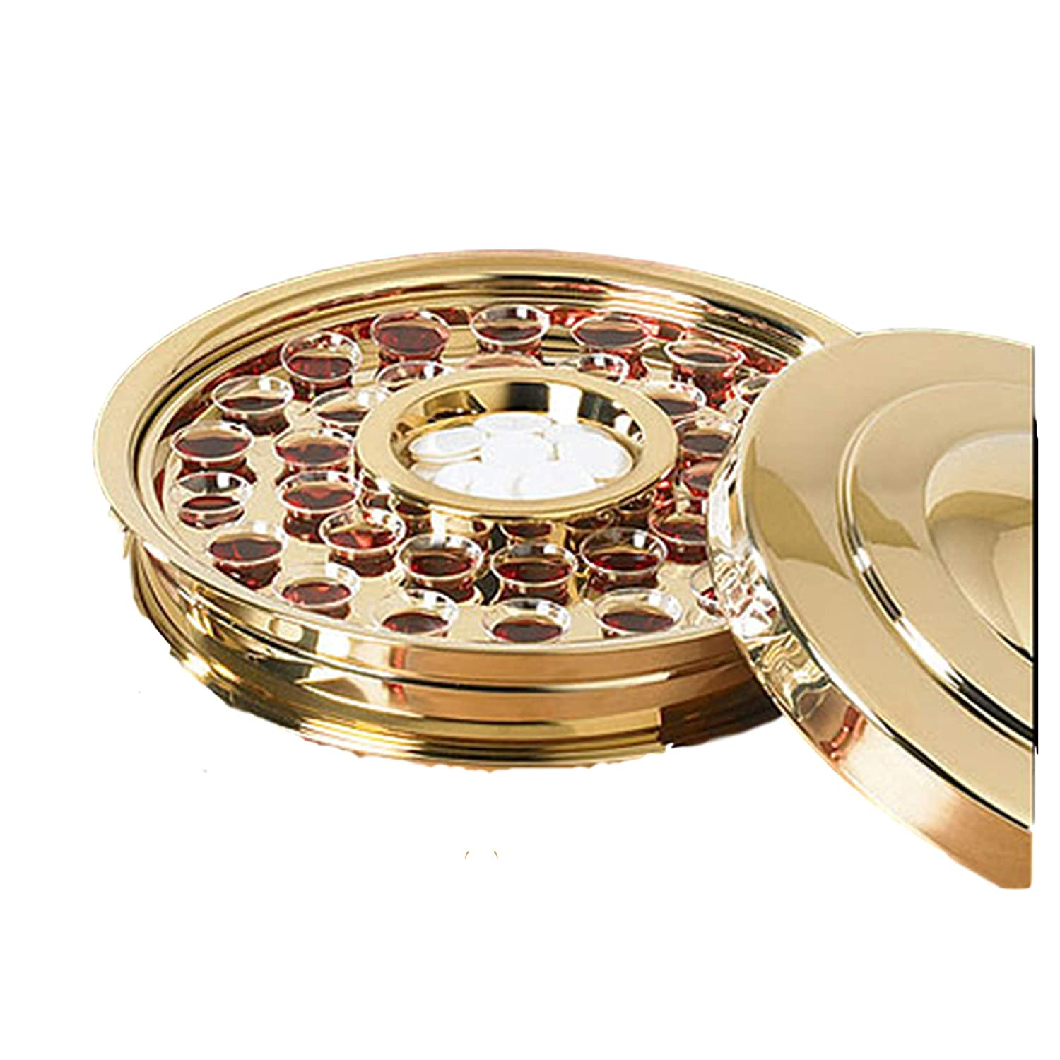 Stackable Communion Tray with Center Bread Plate & Tray Cover - Stainless Steel Brass Tone