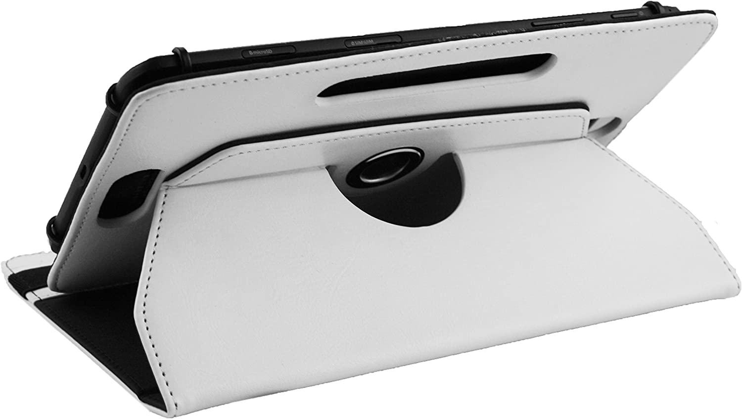 White Premium PU Leather 360 Degree Rotating Stand Folio Wallet Case Cover Emartbuy/® EE Harrier Tab 8 Inch Tablet Universal 7-8 Inch White Stylus