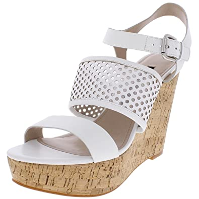 8a57eeadbd31 Amazon.com  French Connection Womens Devi Leather Cork Wedge Sandals White  10 Medium (B