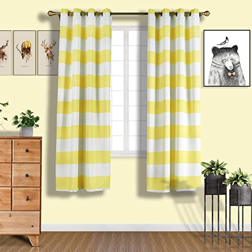 Efavormart 2 Panels White Yellow Cabana Stripe Thermal Insulated Blackout Curtains with Chrome Grommet Window Treatment 52 x84