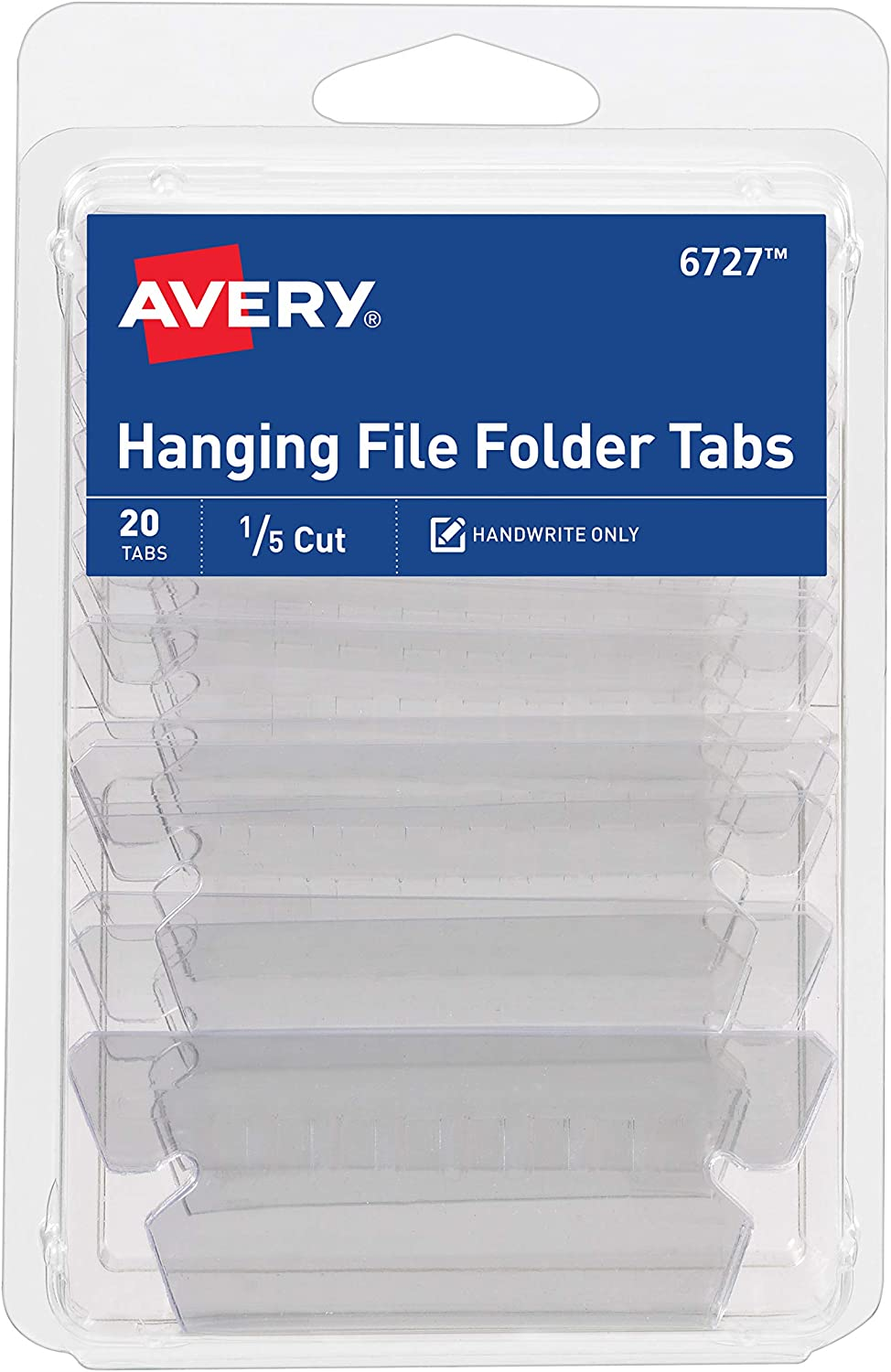 Amazon Com Avery Insertable Hanging File Folder Tabs 1 5 Cut Matte Clear 20 Tabs 6727 All Purpose Labels Office Products