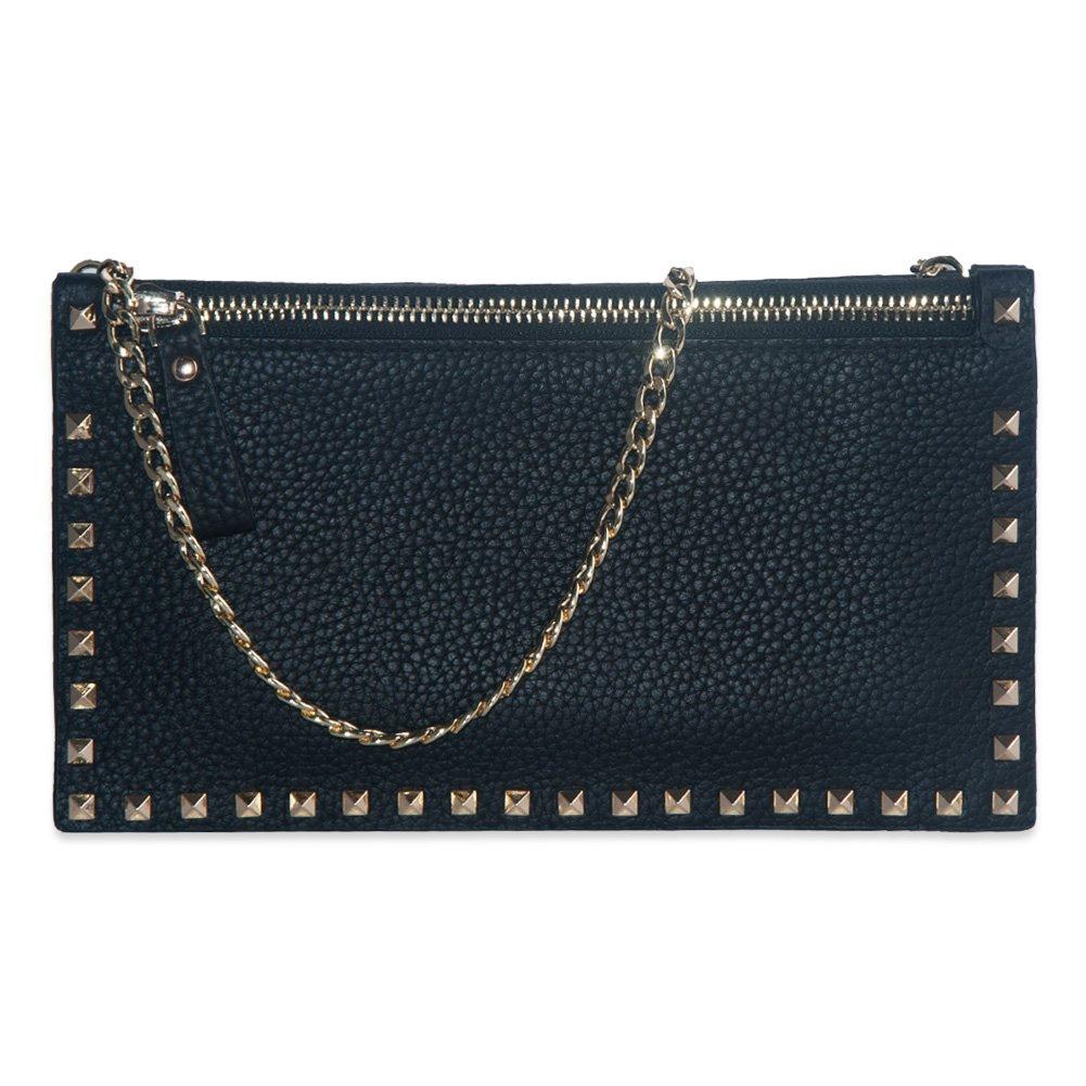 Women Leather Wallet, Sunzel Leather Snap Button Long Ladies Elegant Purse, Clutch Purse Credit Card Holder Organizer (Envelope Crossbody Black)