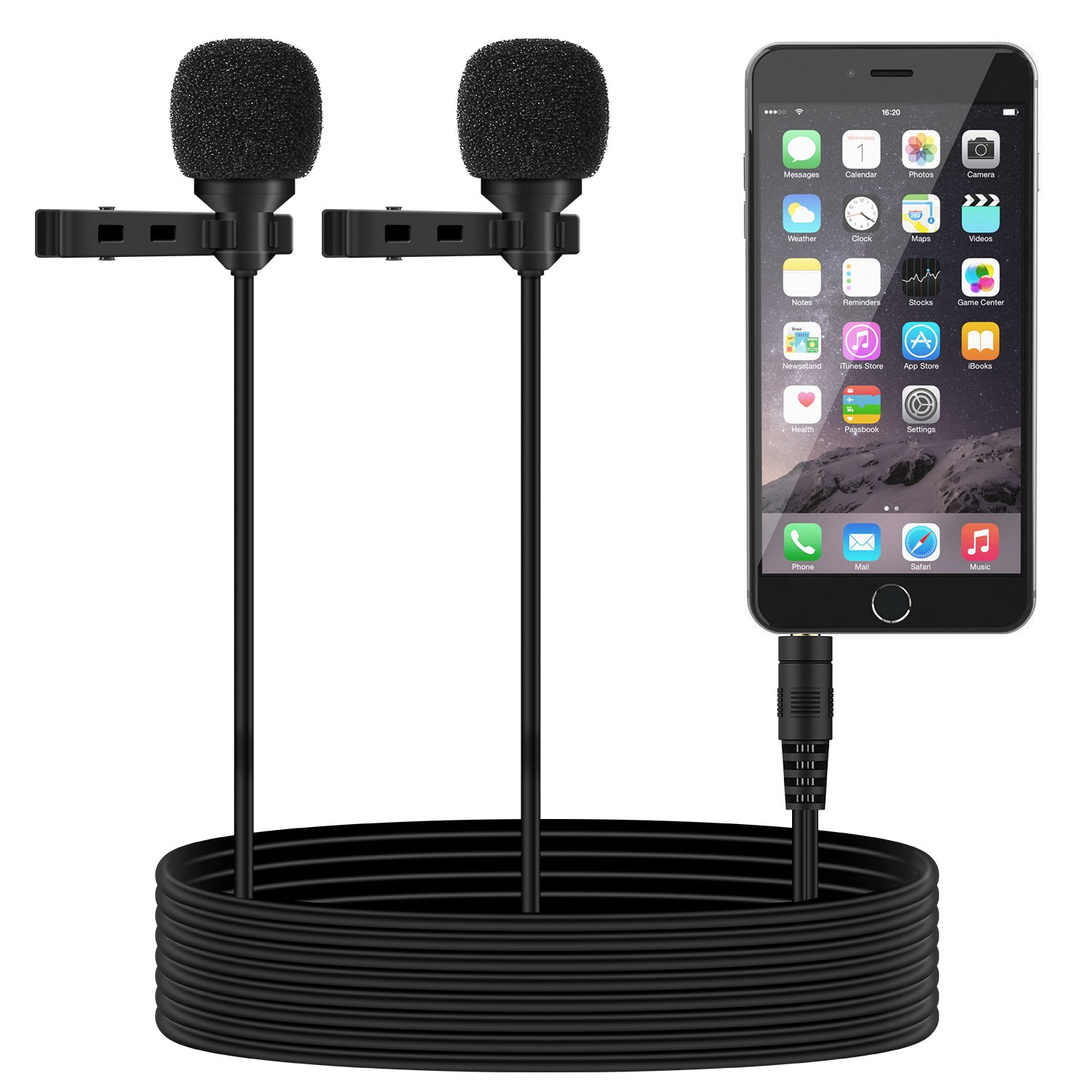 TONOR Dual Lavalier Microphone, Lapel Interview Clip-on Mini Omnidirectional Condenser Mic for iPhone, Android Smartphones, iPad, 55 inch, Black TN120448BL