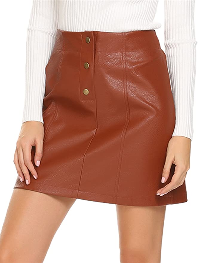 39d84f721 Mofavor Women's Leather Skirts High Waist Button Front A Line Short Mini  Skirt at Amazon Women's Clothing store: