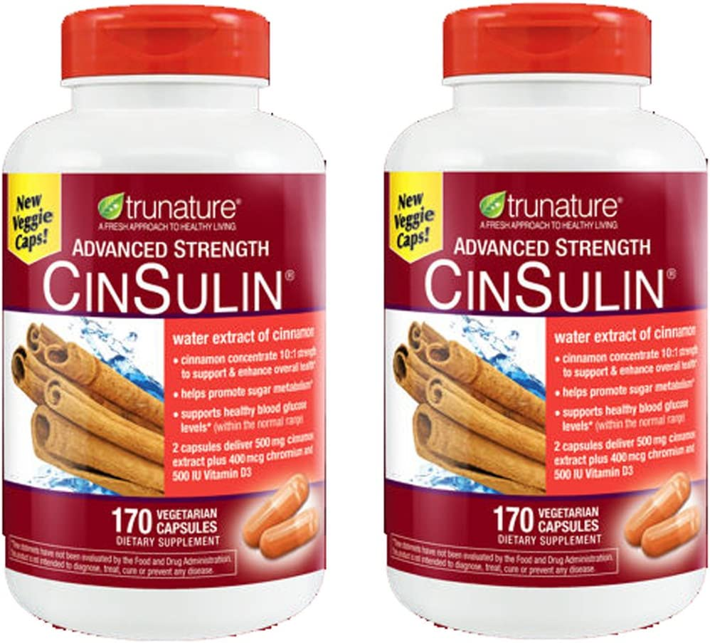 TruNature Advanced Strength CinSulin with Cinnamon Concentrate and Chromium Picolinate – 2 Bottles, 170 Capsules Each