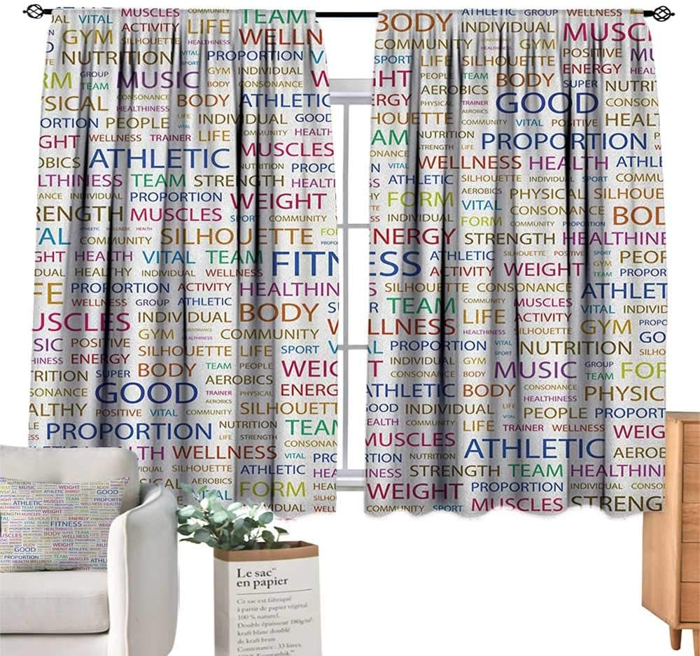 Amazon Com Fitness Kids Customized Curtains Gymnastics Psychical Activity Lifestyle Concept Words Salubrity Wellness Health Blackout Curtains For Bedroom W55 X G63 Home Kitchen