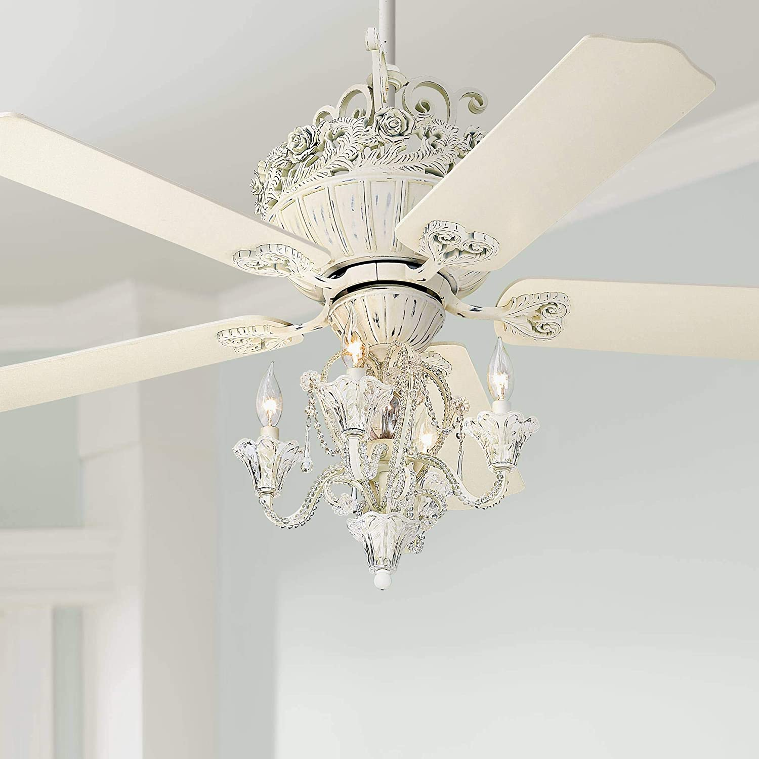 52 Casa Vintage Chic Ceiling Fan with Light LED Dimmable Crystal Chandelier Rubbed White for Living Room Kitchen Bedroom Family Dining – Casa Vieja