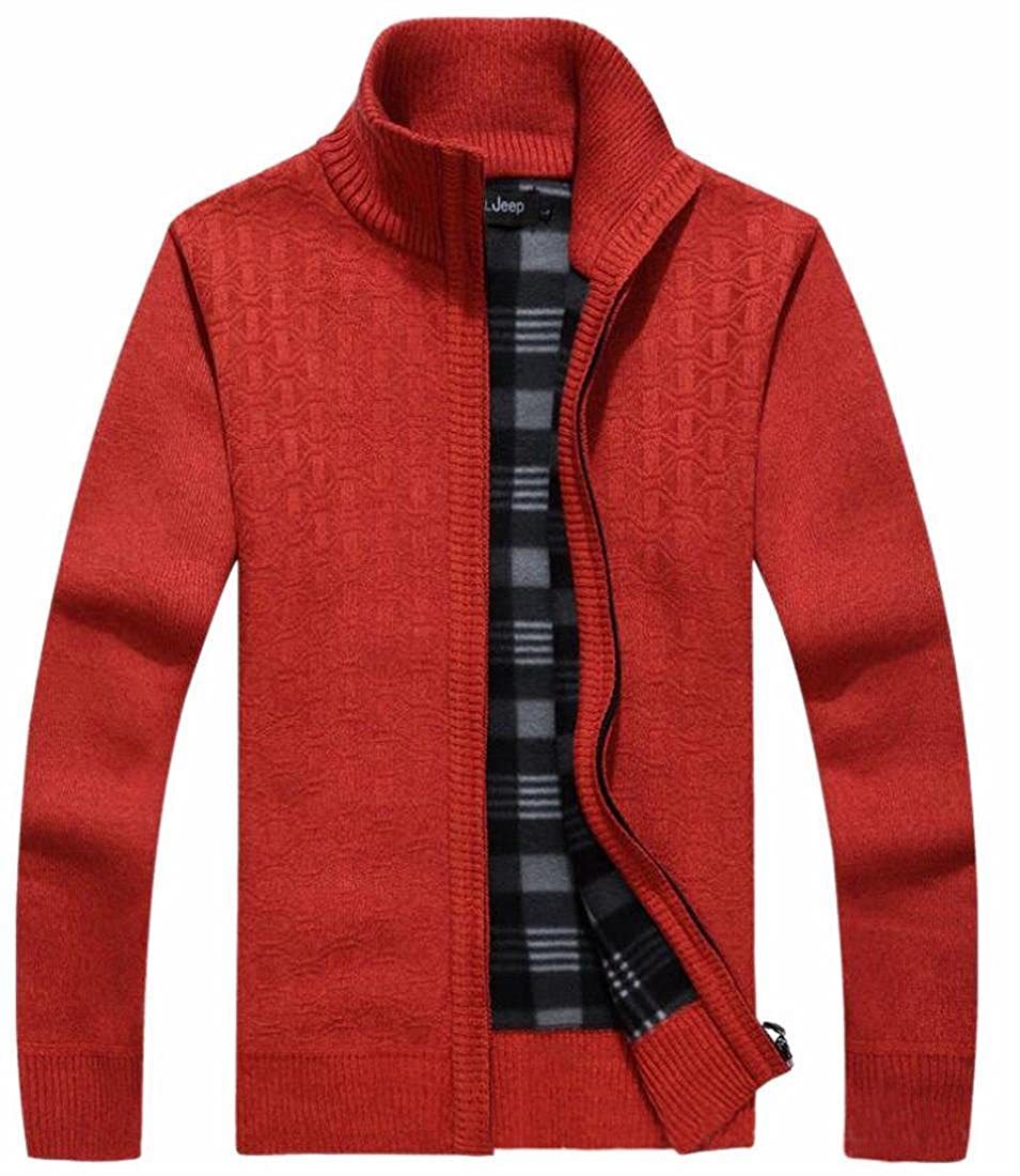 Xswsy XG Mens Stand Collar Zip-up Knitted Cardigan Sweater