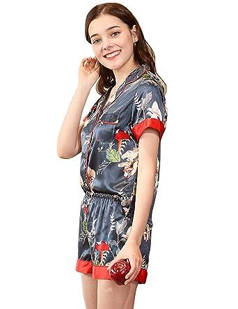 35d453deaaf08 Menschwear Damen Sleepwear Pyjama-Sets Kurzarm und Shorts Komfort ...