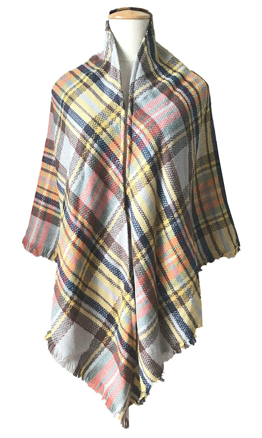 FEOYA Unisex Plaid Tartan Reversible Checked Warm Scarf Shawl Wrap For Fall and Winter Camel
