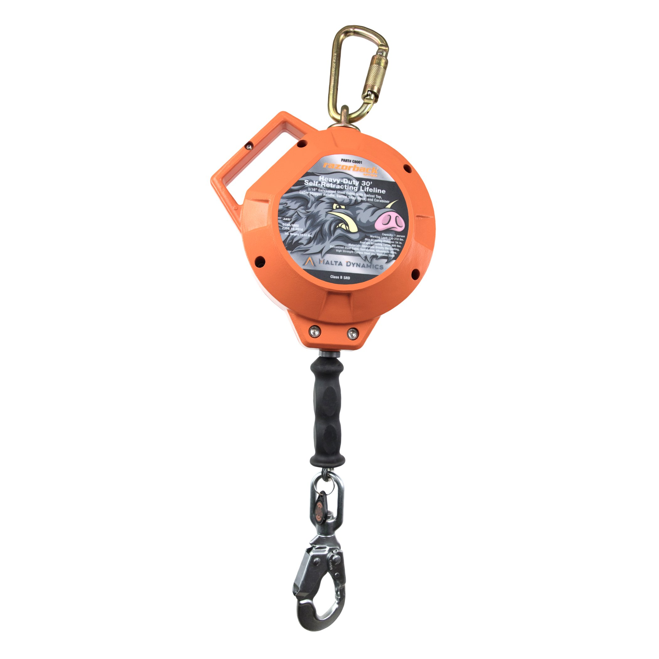 Malta Dynamics Fall Protection, 30-Feet Razorback Heavy-Duty Cable Self Retracting Lifeline with Steel Snap Hook & Carabineer, OSHA/ANSI Compliant