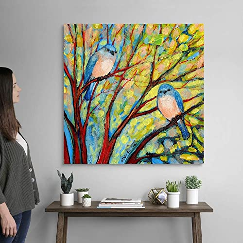 Two Bluebirds Canvas Wall Art Print