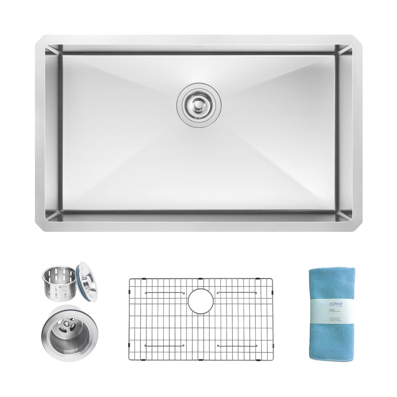 Zuhne Modena Undermount Deep Single Bowl 32 x 19 Inch 16 Gauge Stainless Steel Kitchen Sink, Bar or Prep Kitchen Sink
