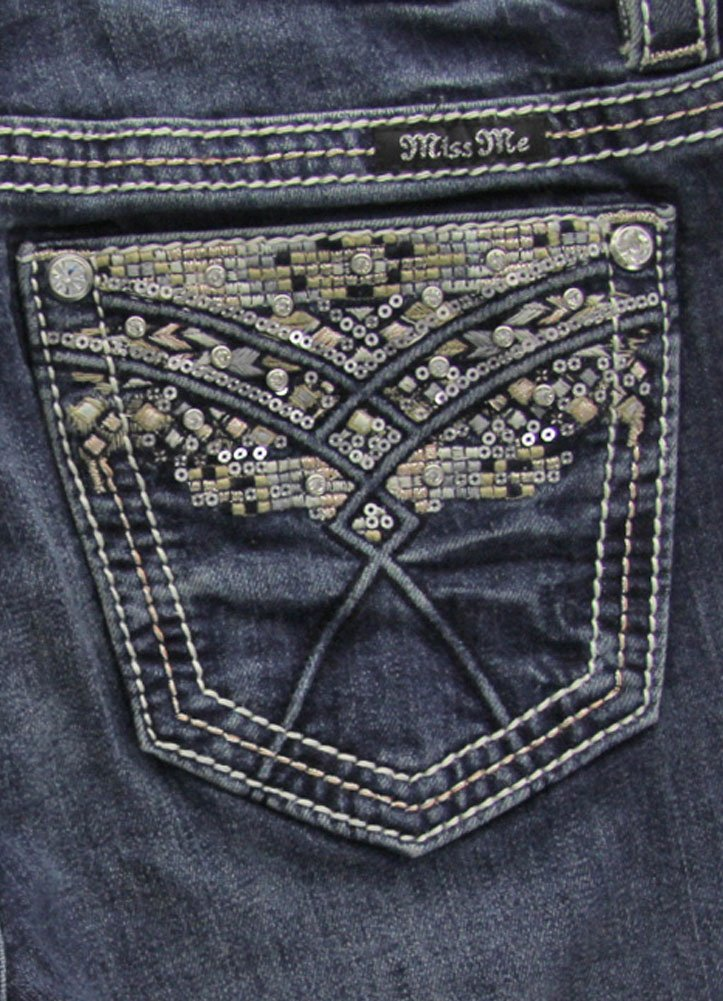 Miss Me Women's Silver Sequin & Rhinestone Bootcut Jeans M7929B