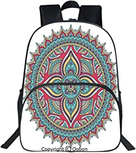 Oobon Kids Toddler School Waterproof 3D Cartoon Backpack, Ethnic Indian Mandala Pattern Bohemian Floral Nature Theme Henna Style Art Image, Fits 14 Inch Laptop