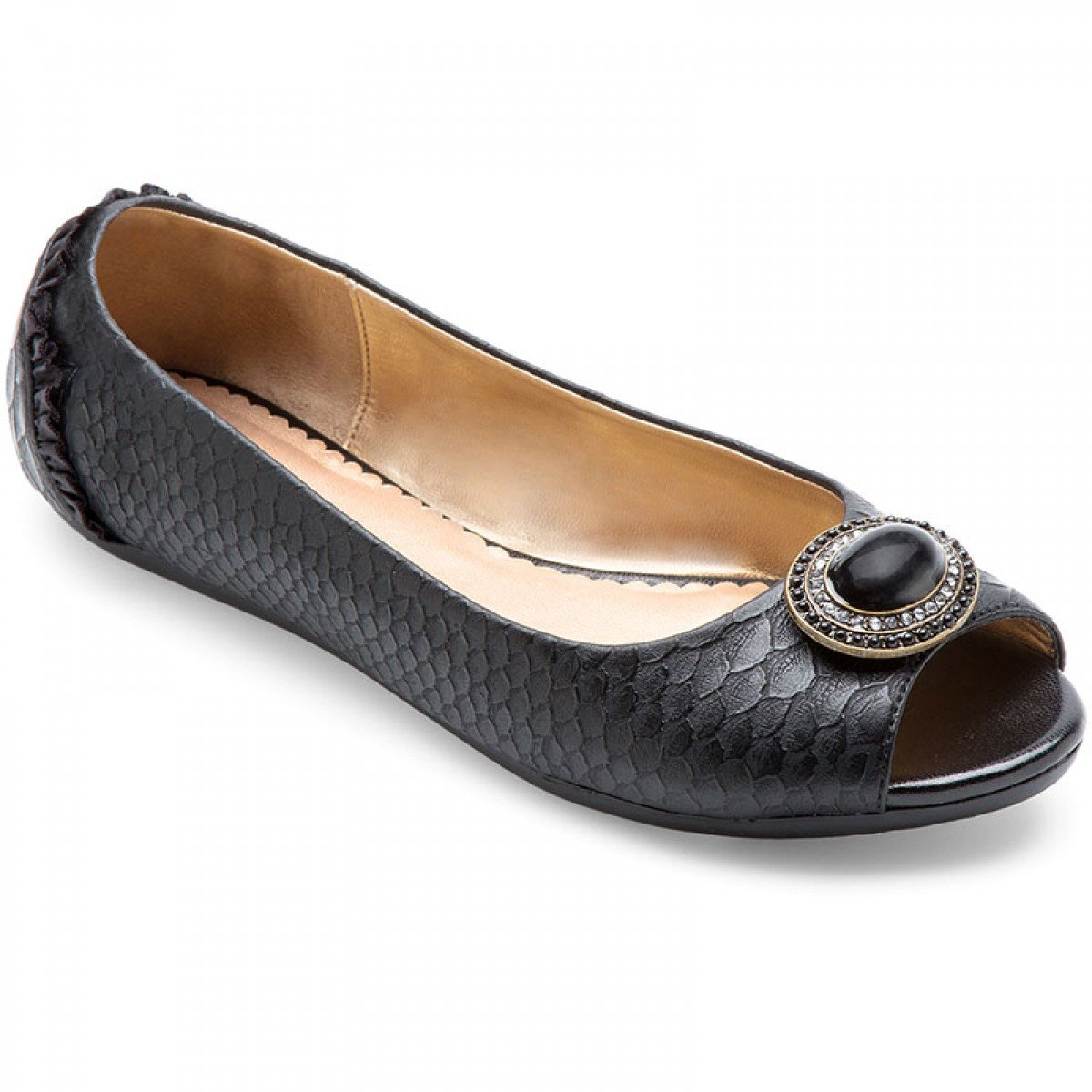 Lindsay Phillips Womens Kate Peep Toe Flat B008FO09D6 6.5 B(M) US|Black Python
