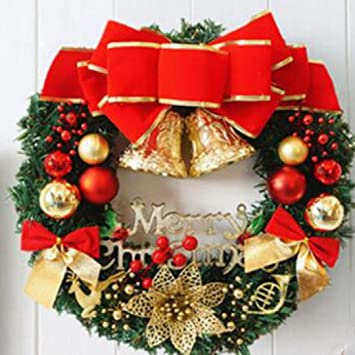 Christmas Wreath Festive Floral Decor, Staron Large Door Wall Ornament  Garland Decoration Red Bowknot Xmas