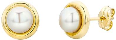 Miore Damen Ohrstecker 14 Karat – Dezente Perlen-Ohrringe aus 585 Gelbgold mit weißer Süßwasserzuchtperle – Perlenschmuck gol