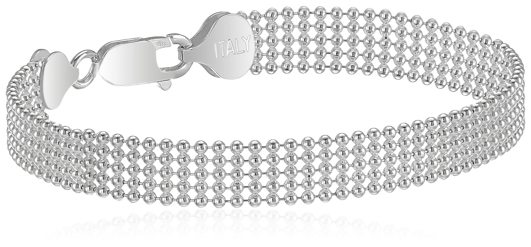 Sterling Silver Five-Row Shot Bead Chain Bracelet, 7''